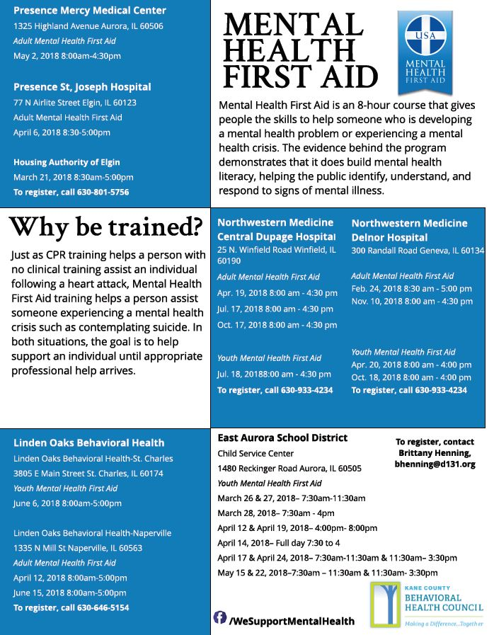 Mental Health First Aid - Kane County Behavioral Health